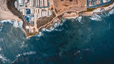 aerial photograph of seashore santa's elves zoom background
