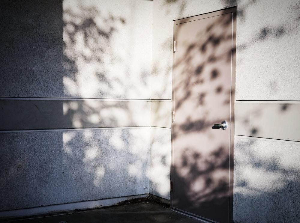 brown door with lever