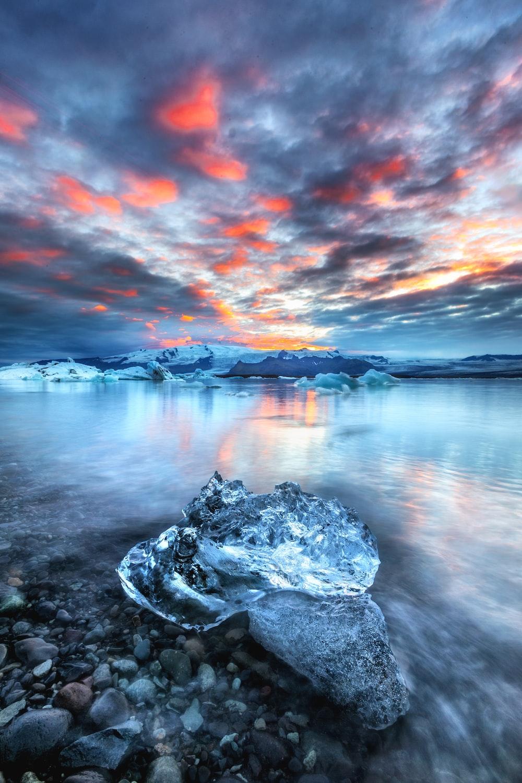 block of ice near water
