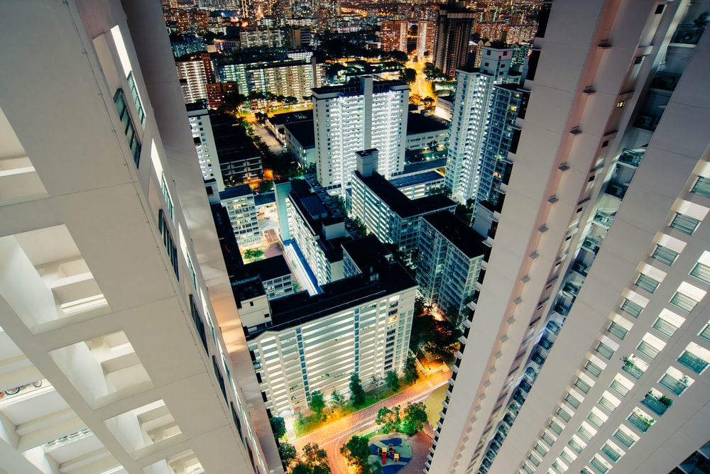 high angle-view of white painted high rise buildings