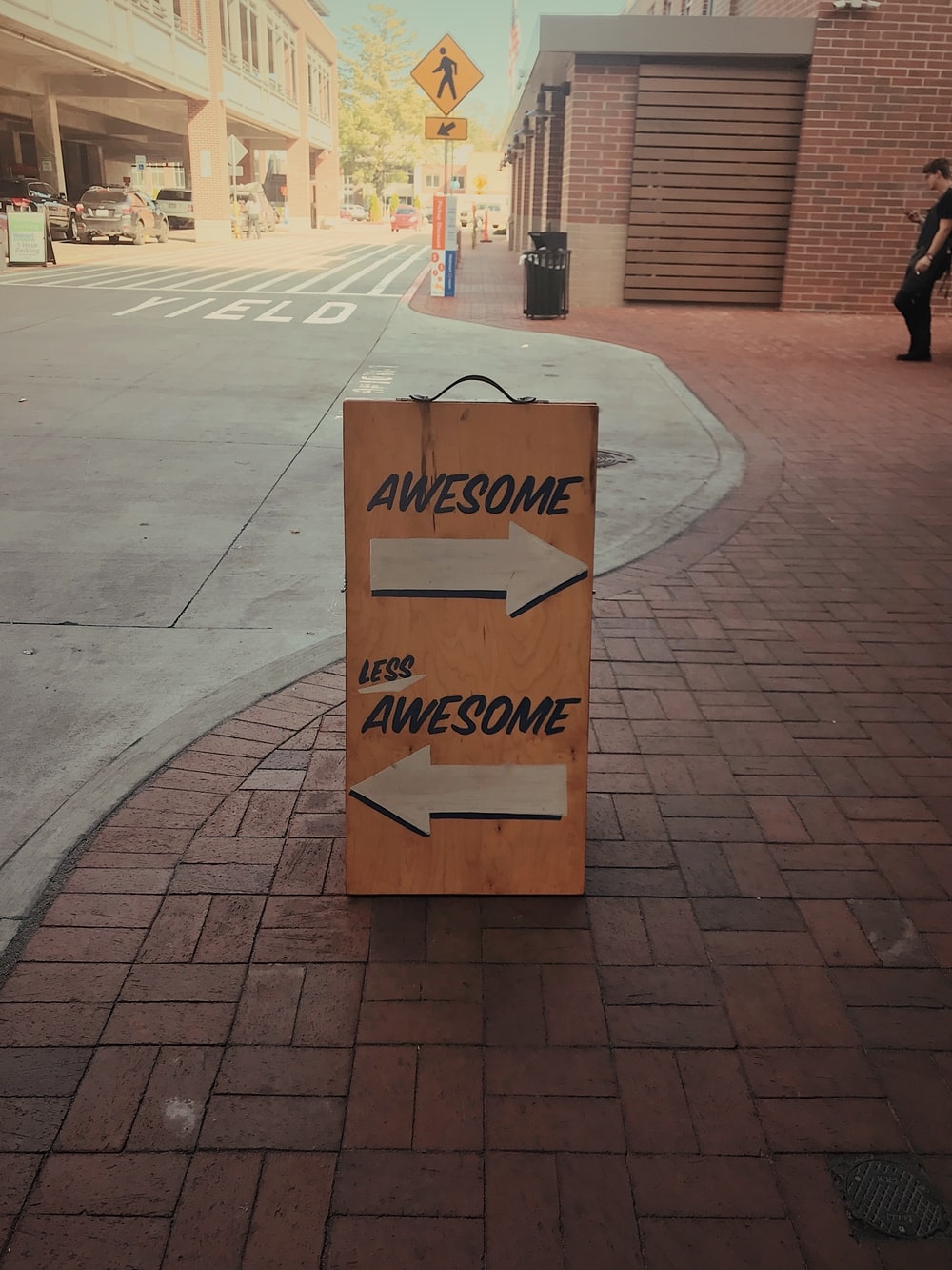 yellow Awesome-printed signage