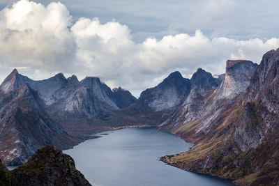 body of water surrounded mountain peak norway teams background