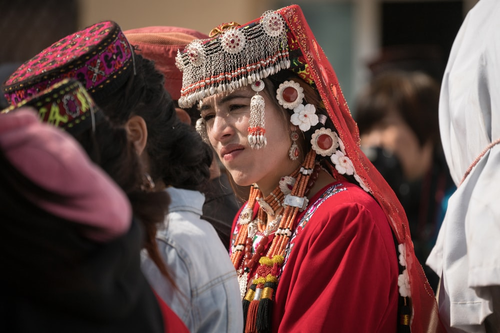 group of people with headdresses