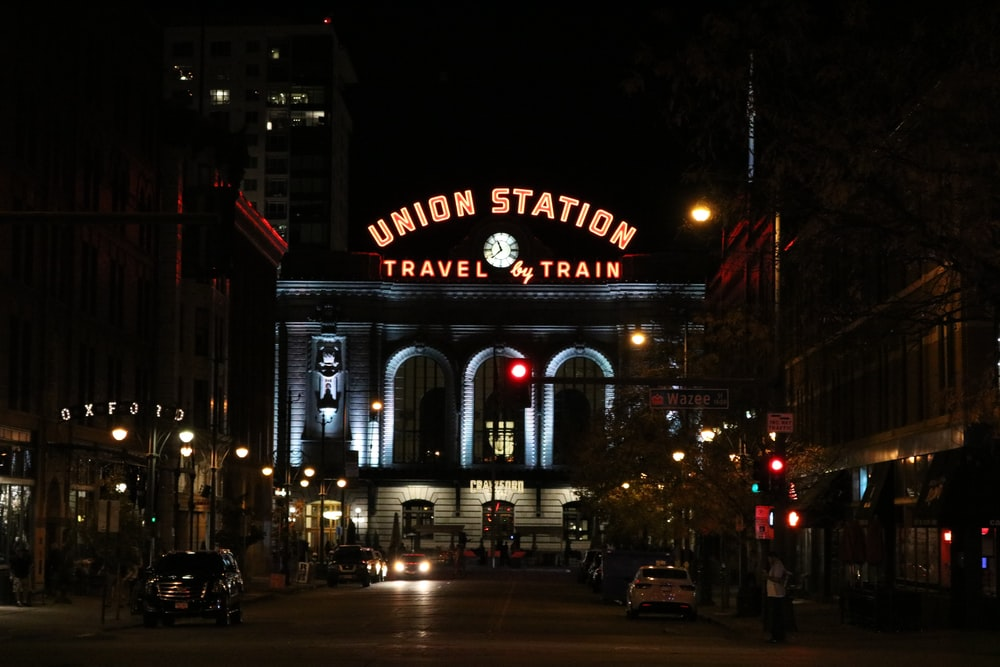 Union Station Travel by Train signage