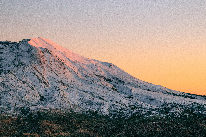 white mountain during sunset