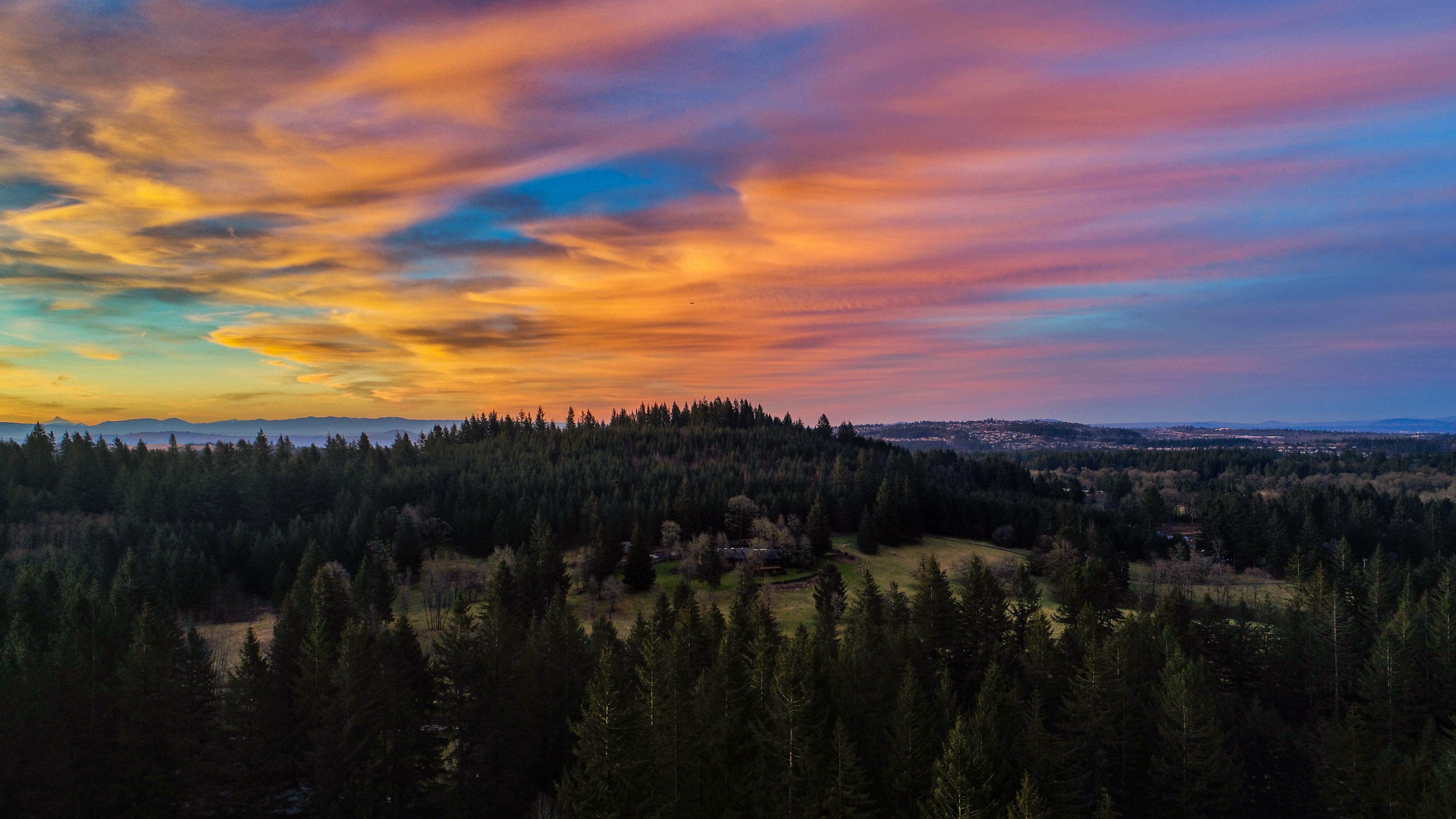 aerial photography of hill covered with trees at sunset
