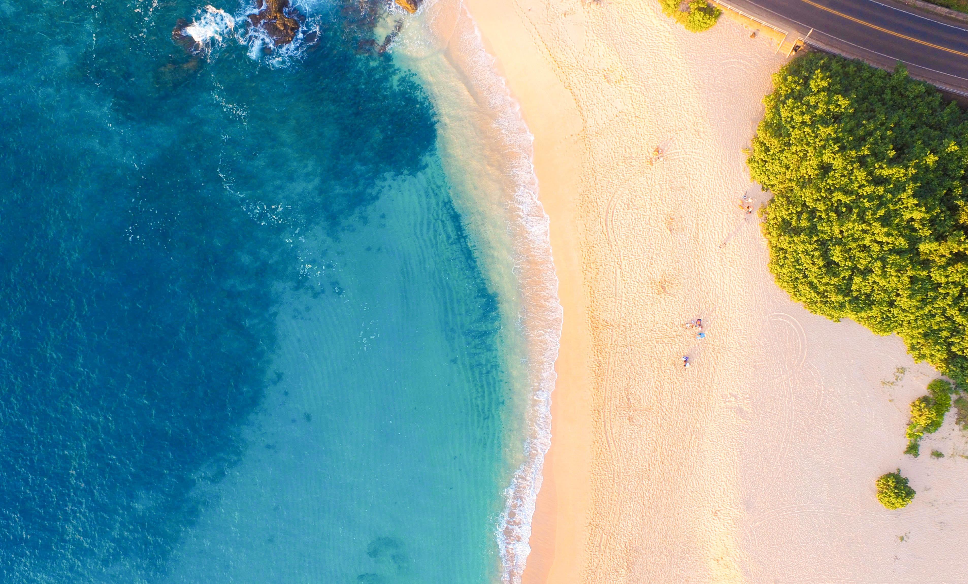aerial view of seashores