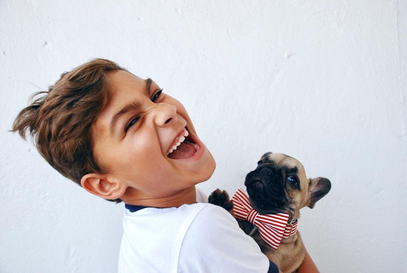 Junge, Hund, Mops, Schleife, glücklich sein, Lachen, glücklicher Gesichtsausdruck