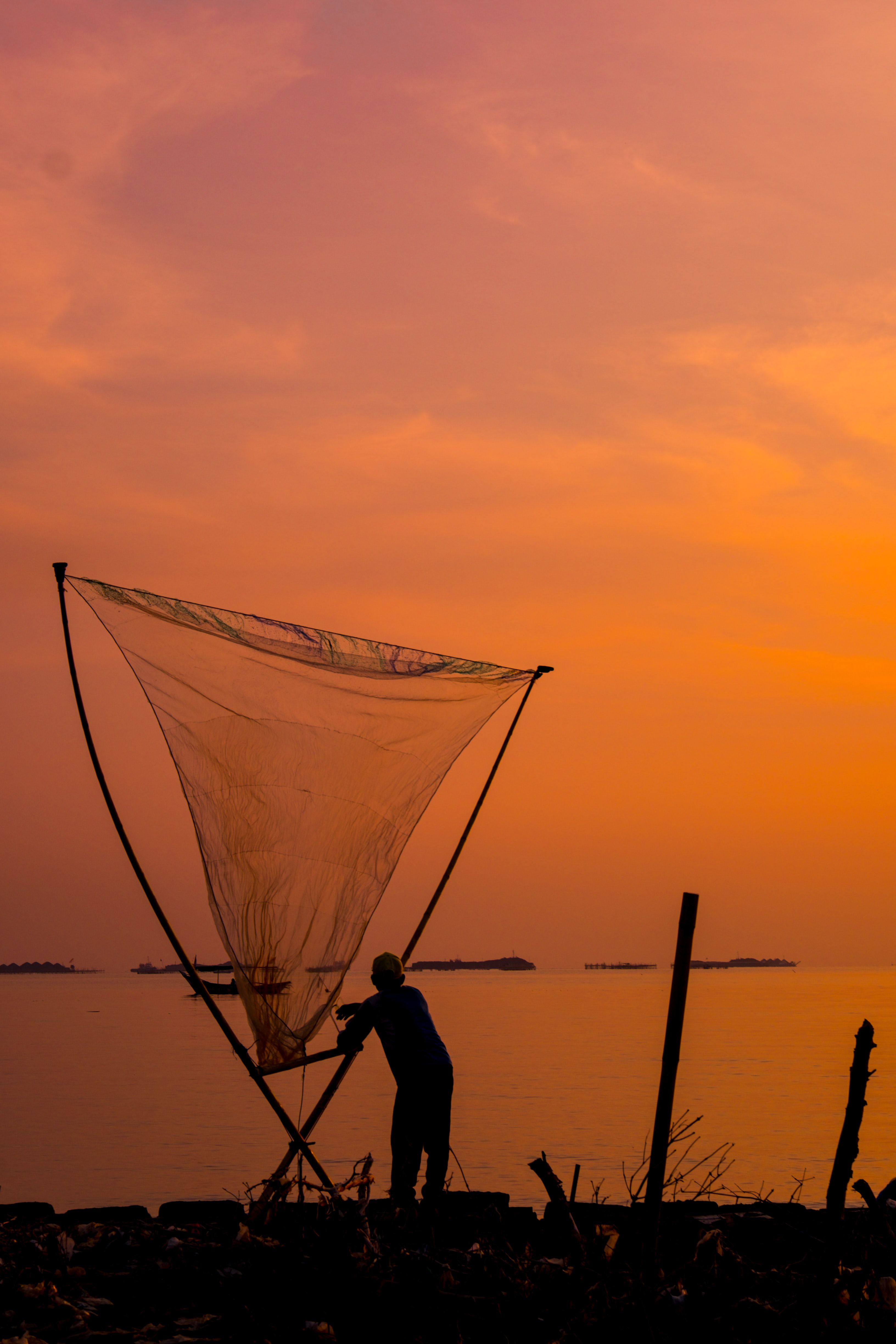 silhouette of man holding net