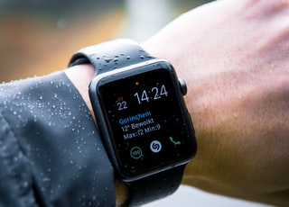 person wearing Apple Watch at 14:24