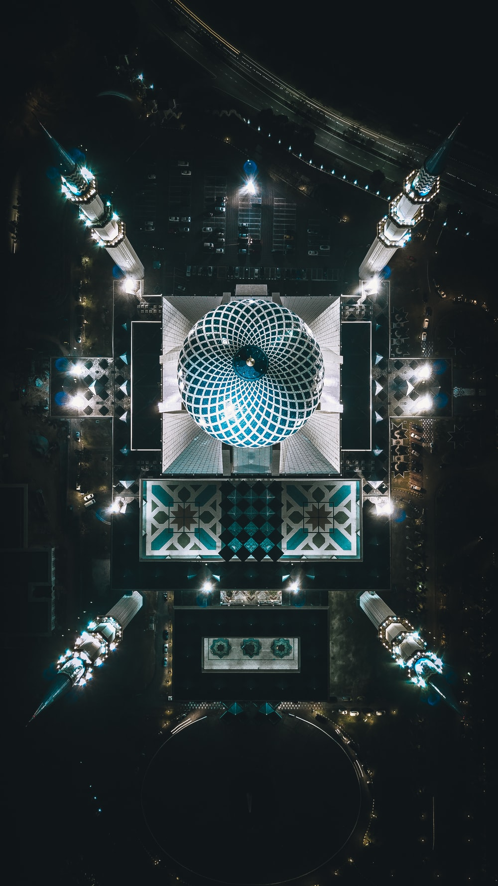 birds eye view of blue and white mosque