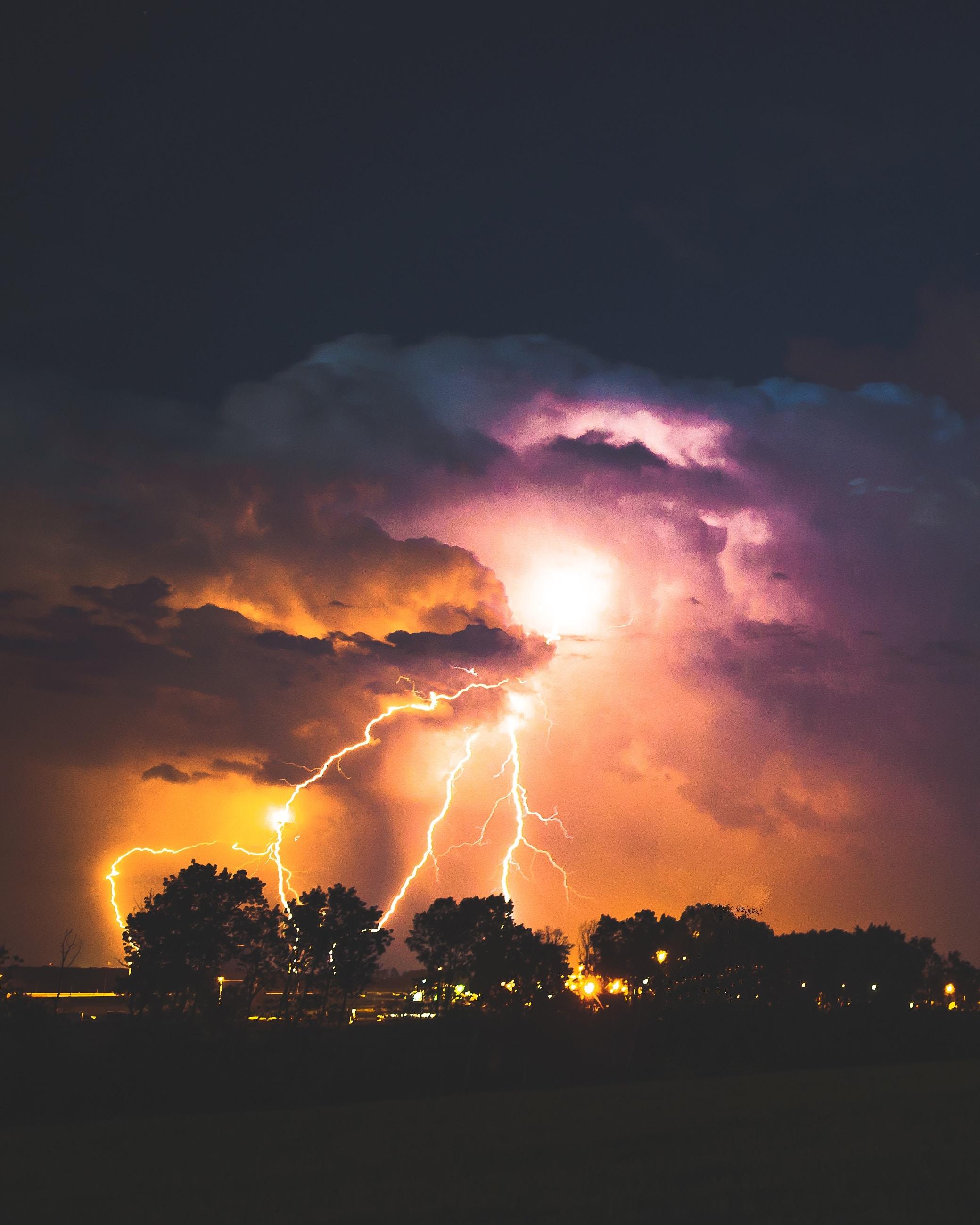 lightning strike at night