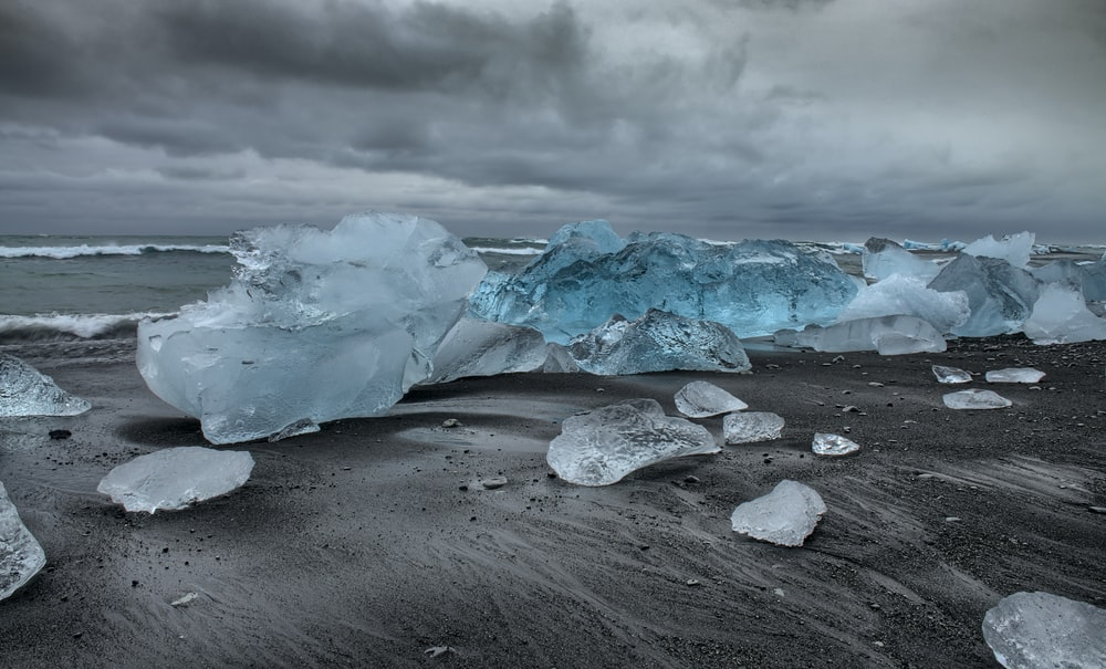 Ice Bergs On Shore