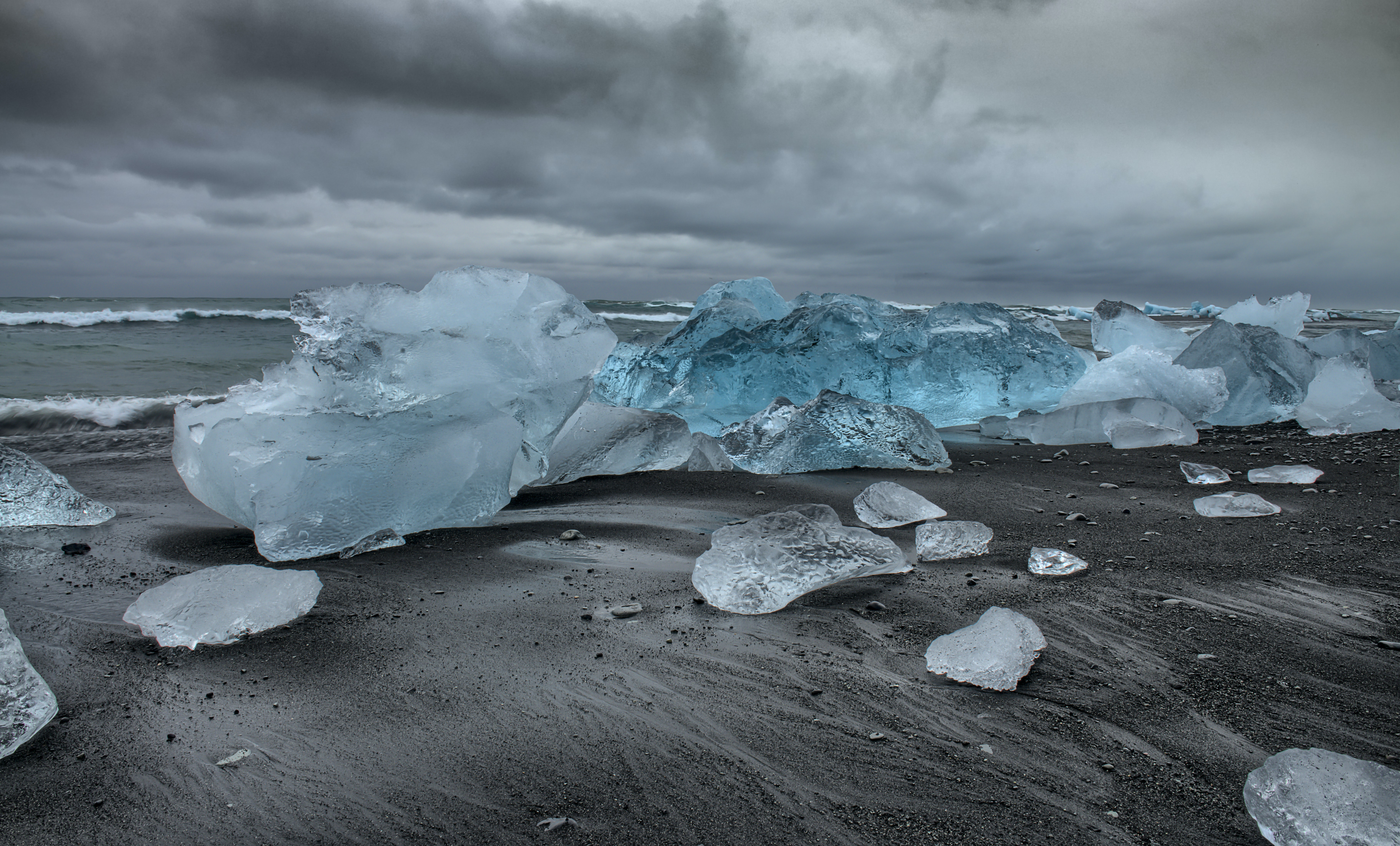 ice bergs on shore