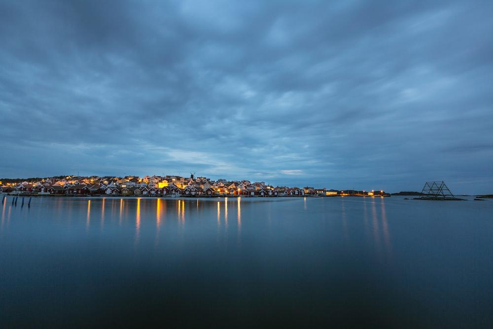 body of water beside city