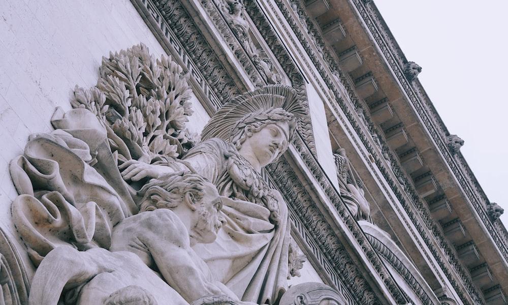 high angle photography of white statute
