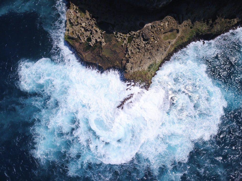 areal view photography of ocean