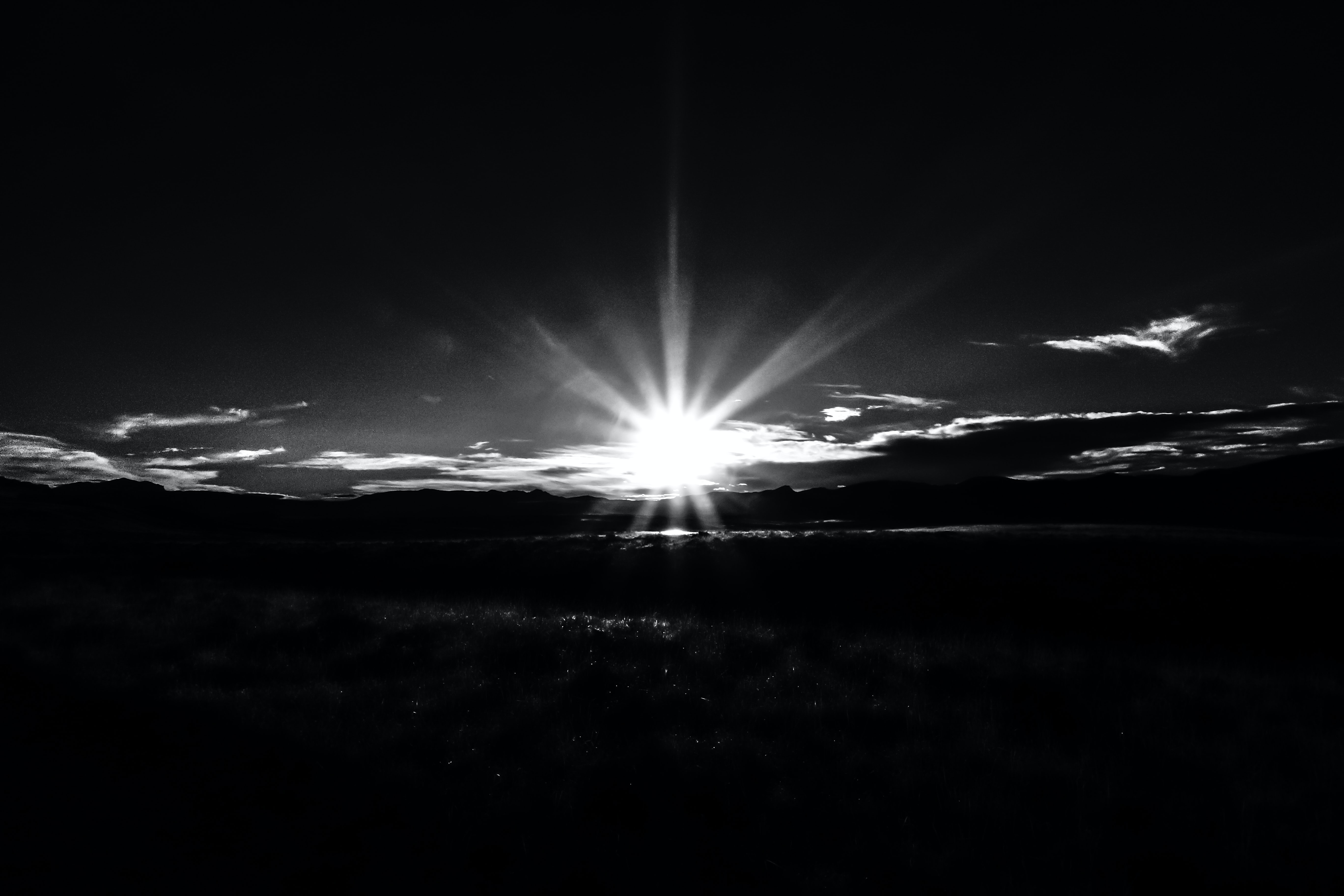 sunrise grayscale photo