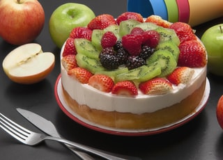round cake with assorted fruits on top