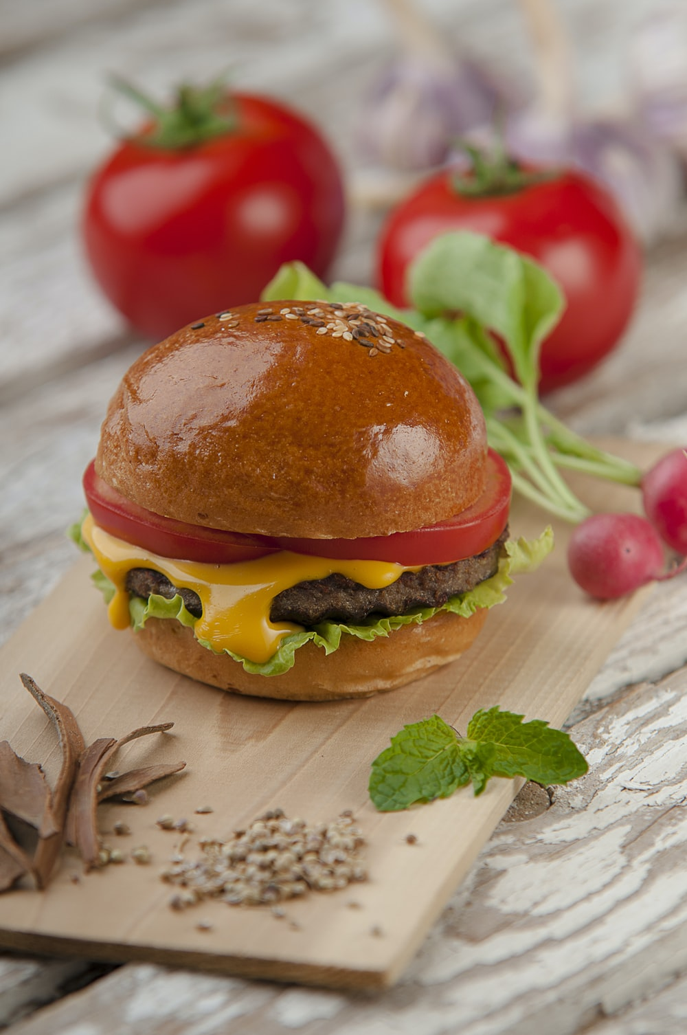photo of burger with tomato and cheese