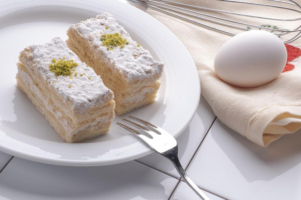 egg near the white ceramic plate