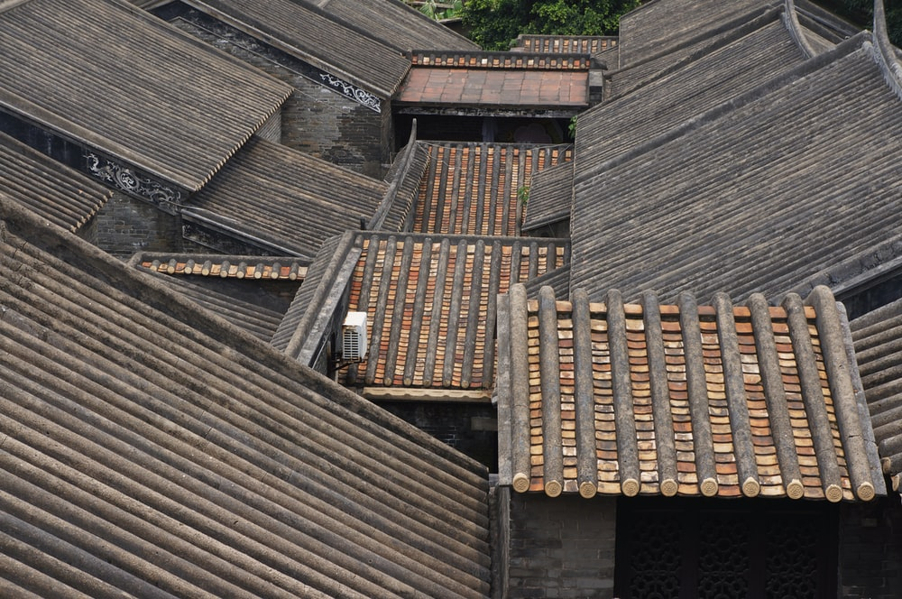 brown wooden roofs