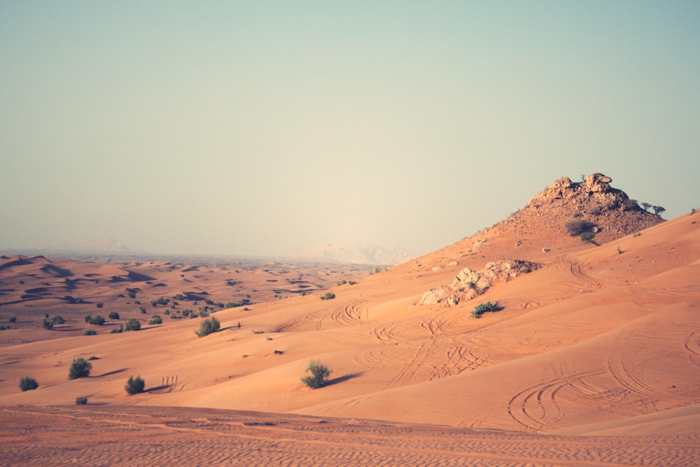 landscape photography of desert land