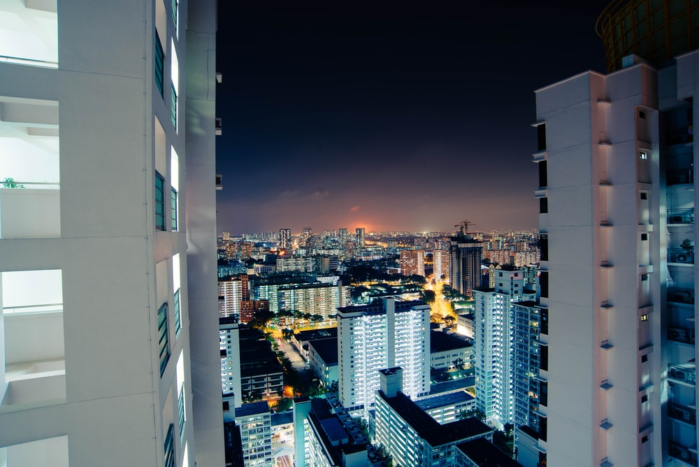 photo of high-rise building during nighttime