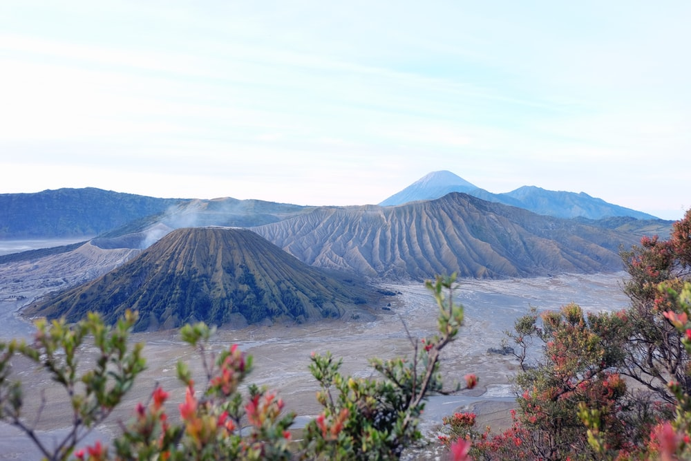 bird's eye view of gray mountain