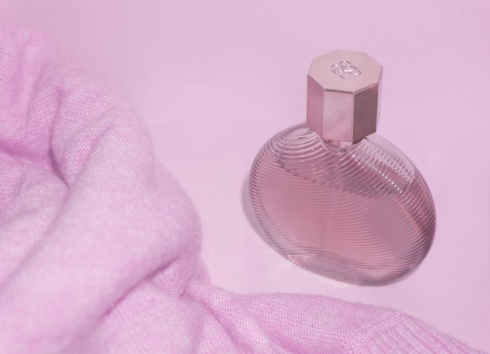 pink glass perfume bottle