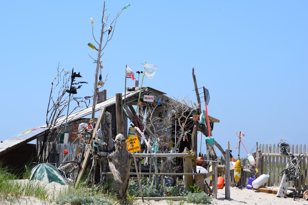This is  a ramshackle house on Cape Code built entirely of flotsam recovered from the Atlantic. The ultimate in recycling art.