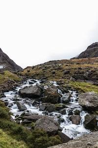 close view of rushing water on rocks
