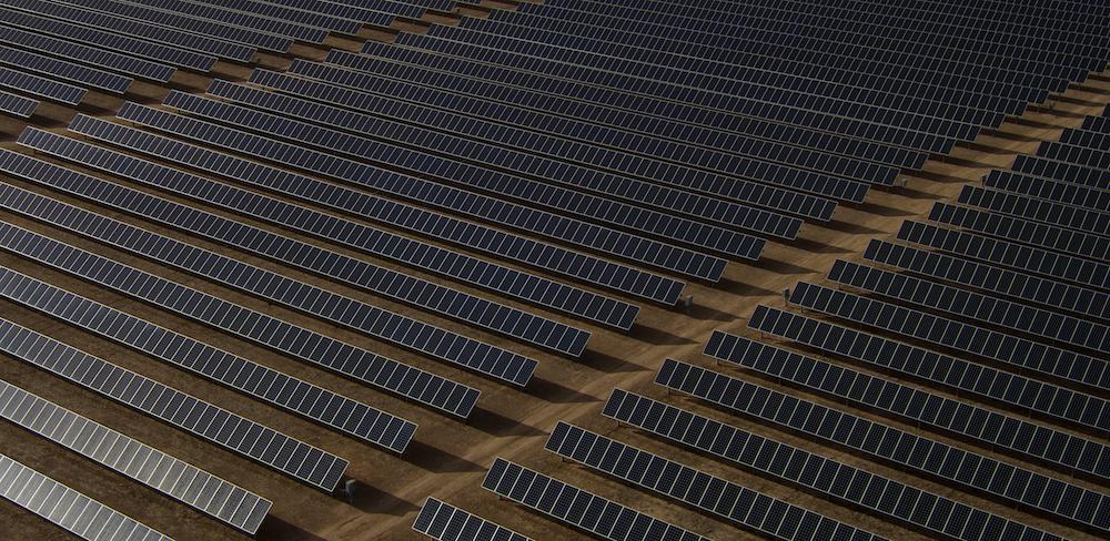 gray solar panel lot