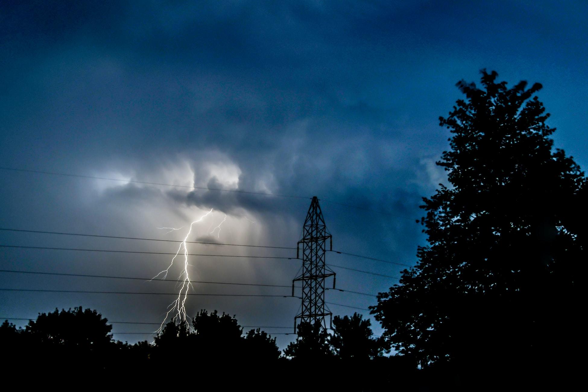Lightning strike in Lincoln, Nebraska