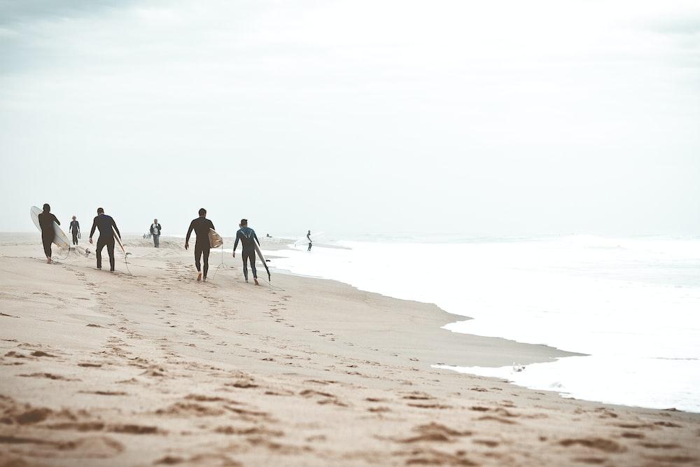 four men holding surfboard on shore