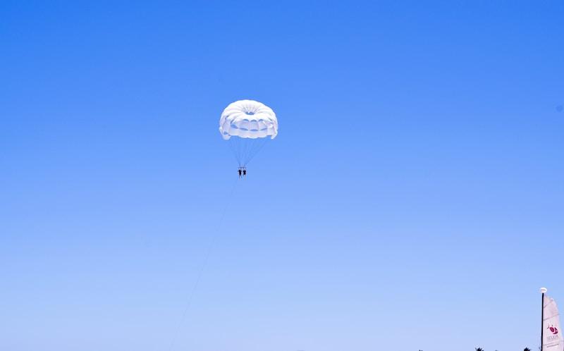 white parachute on air