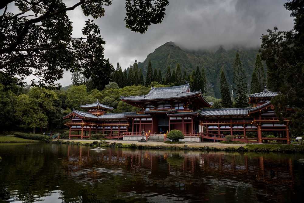 gray and brown pagoda temple beside calm body of water at daytime