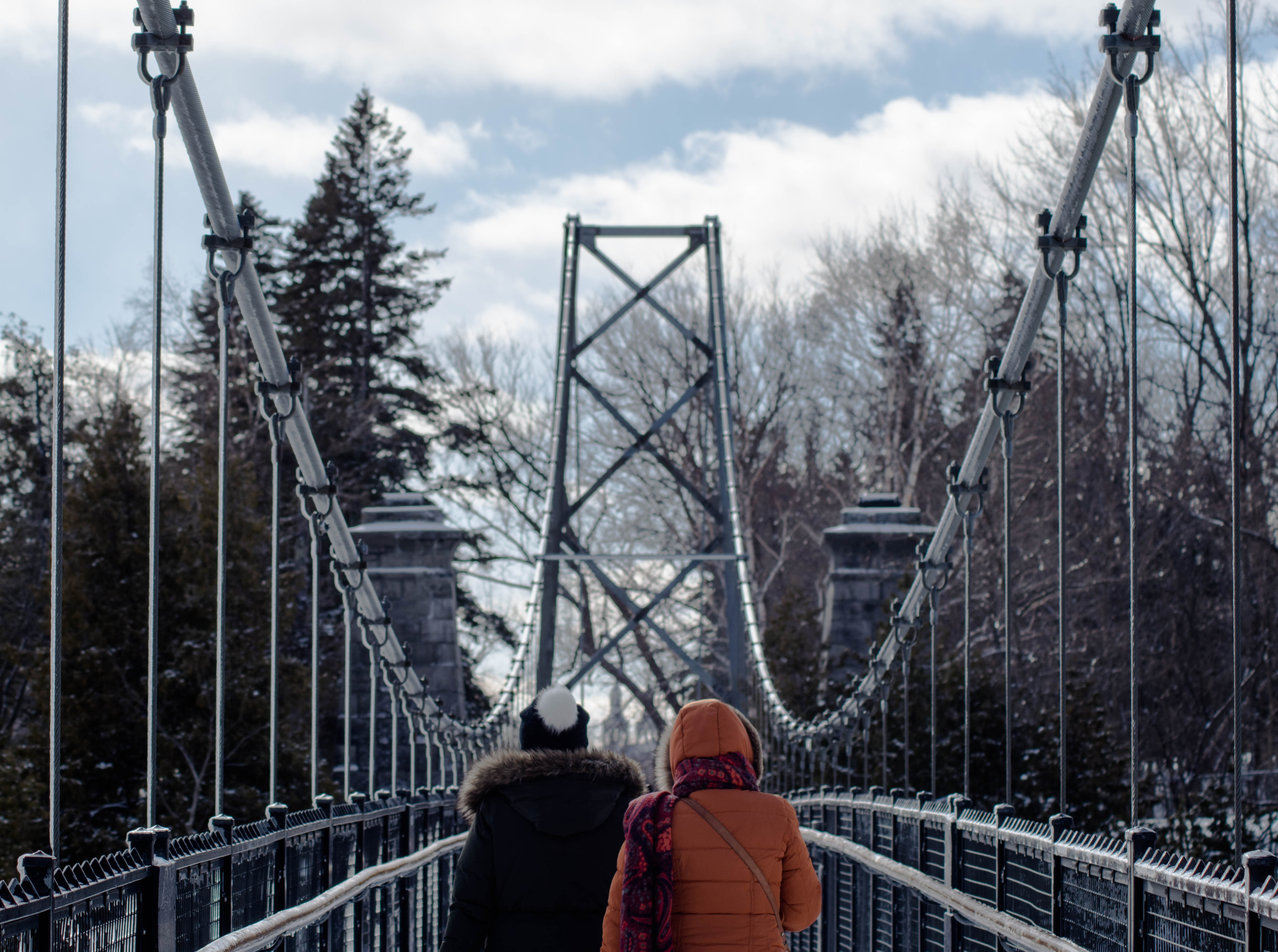 two persons walking on gray suspension bridge in between trees at daytime