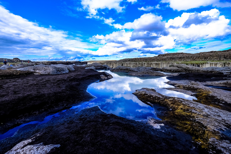 body of water near rock formation