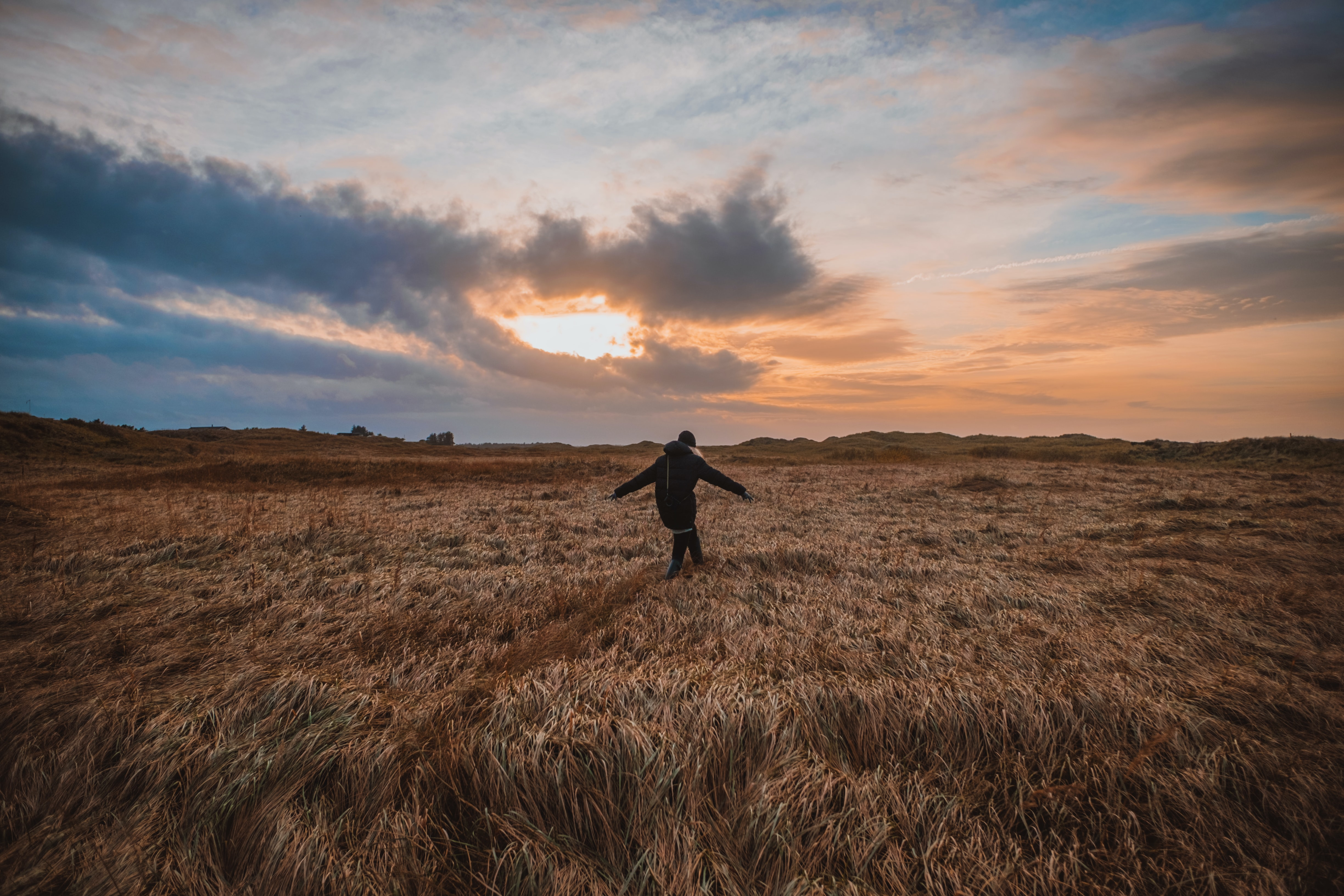 person walking on field under gray clouds