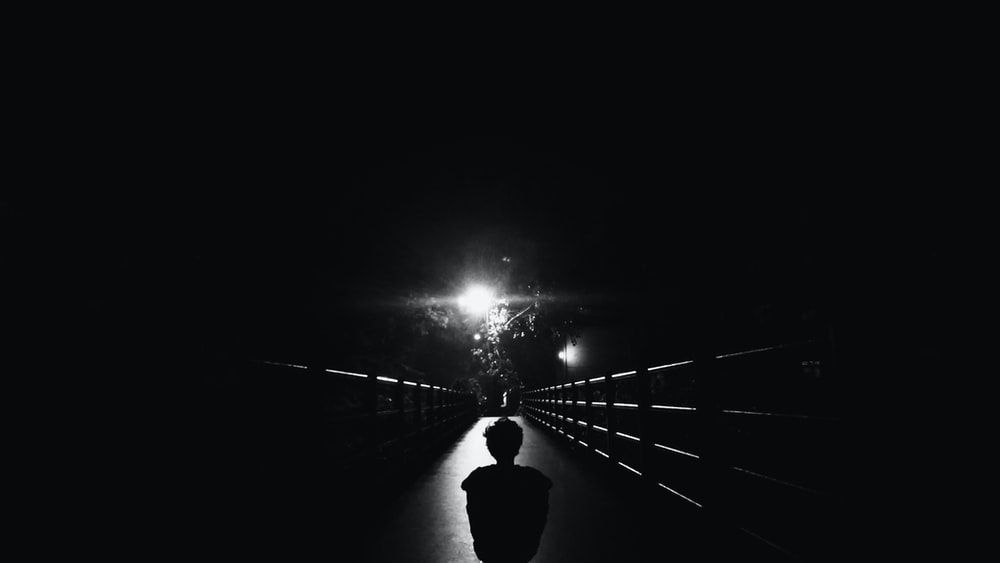 silhouette photo of child standing on bridge