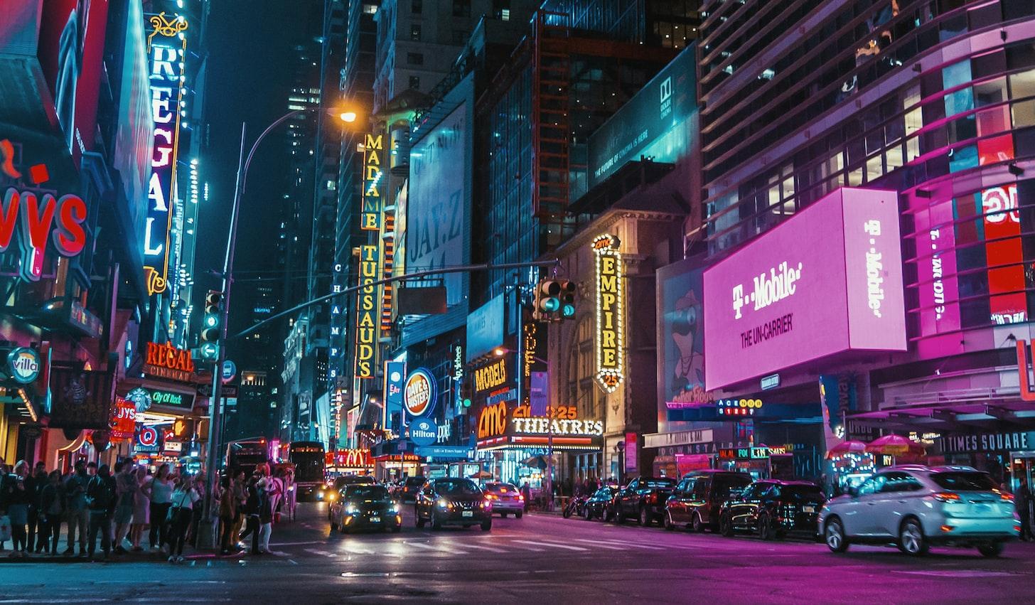 Manhatten brands displayed on billboards
