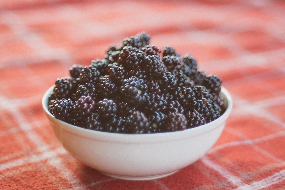 bowl of black berries