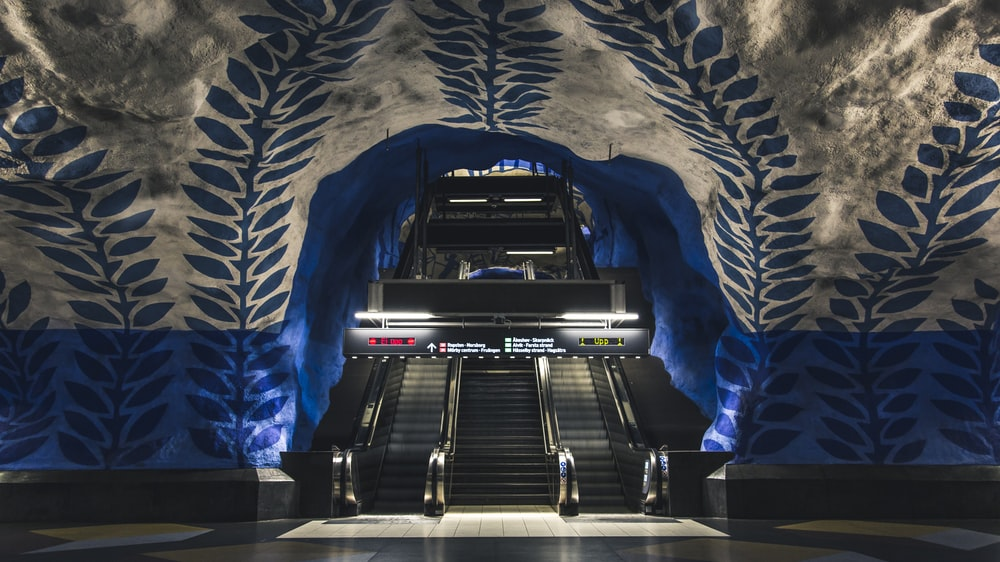 Underground Metro tube stations escalators, Sweden