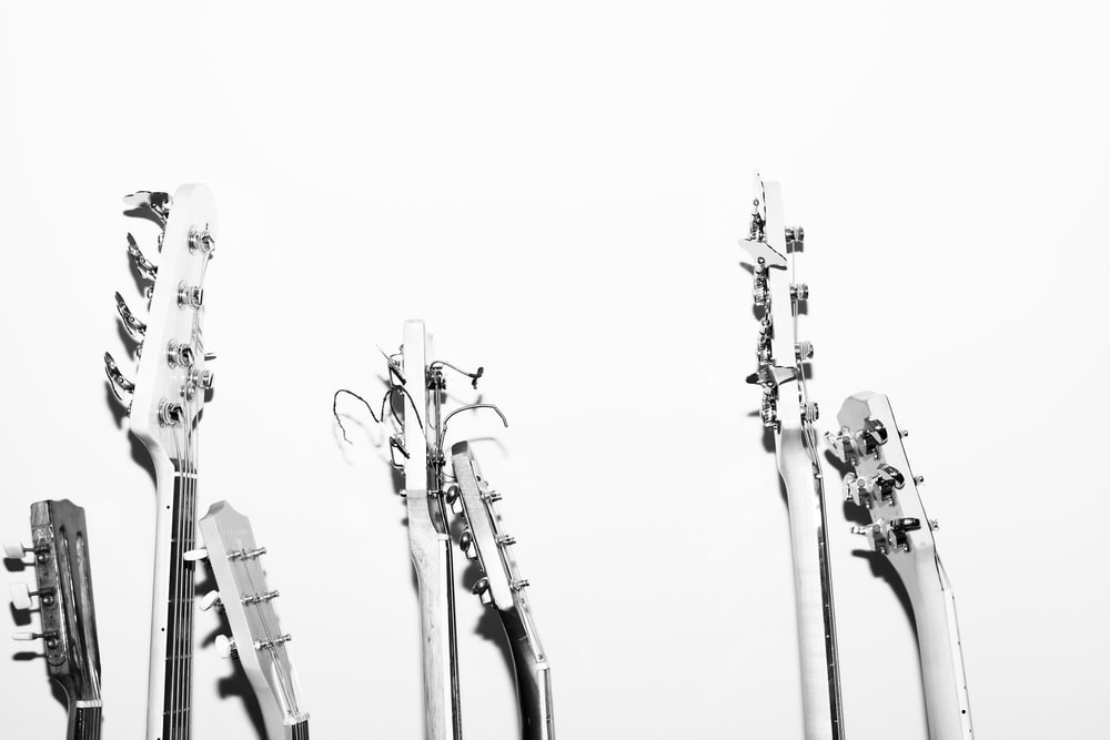 grayscale photography of guitar heads