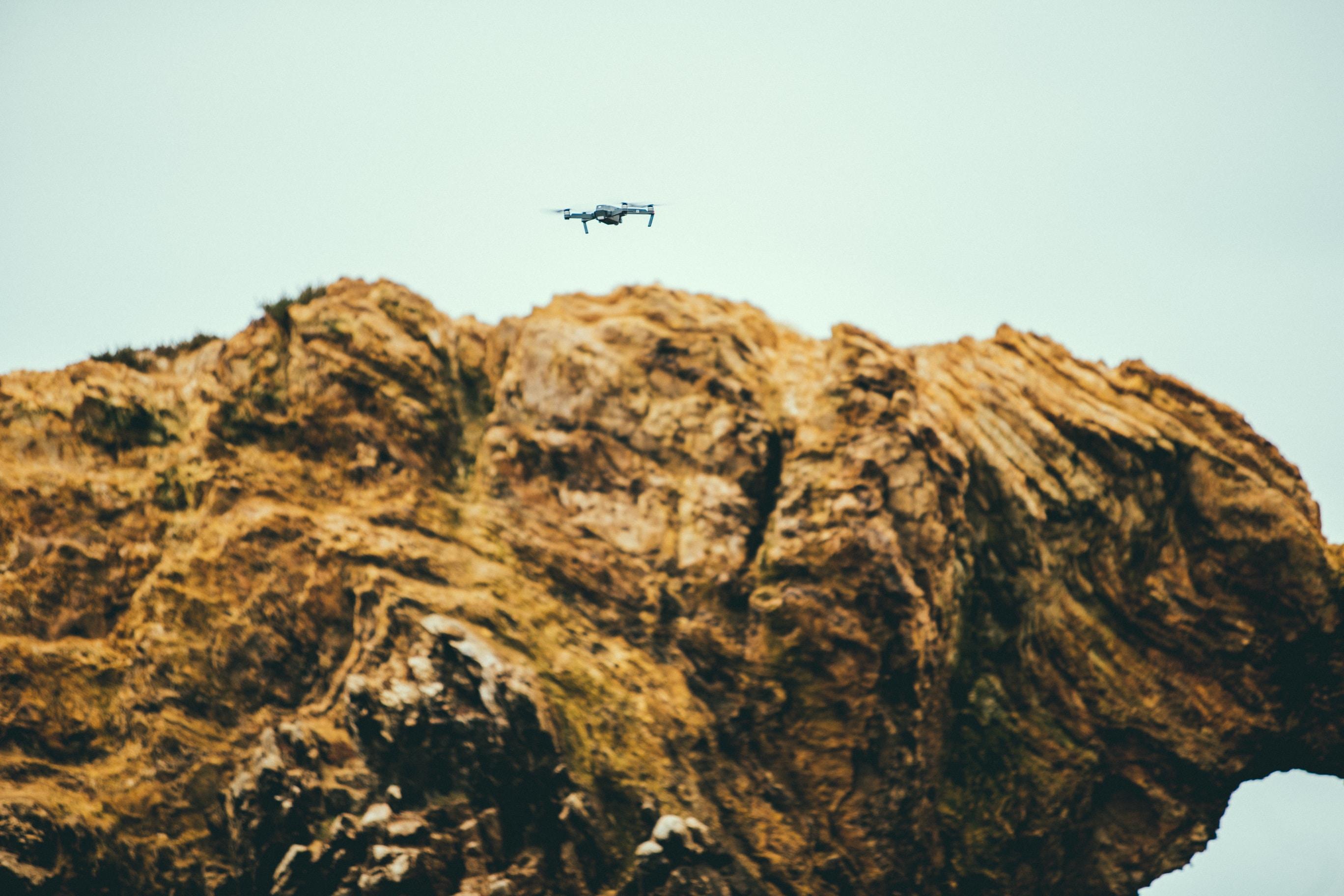 drone on brown concrete stone