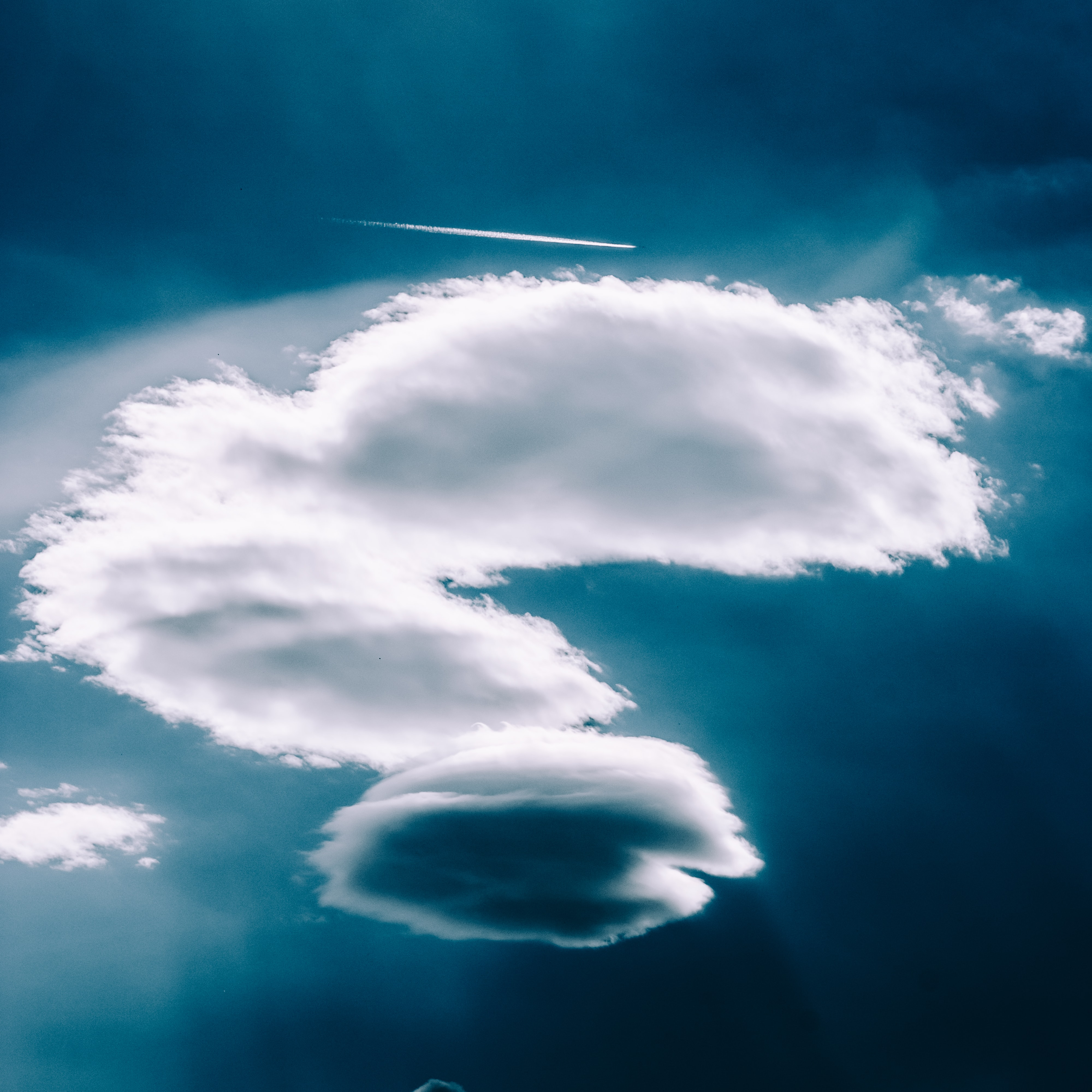 low angle of white clouds