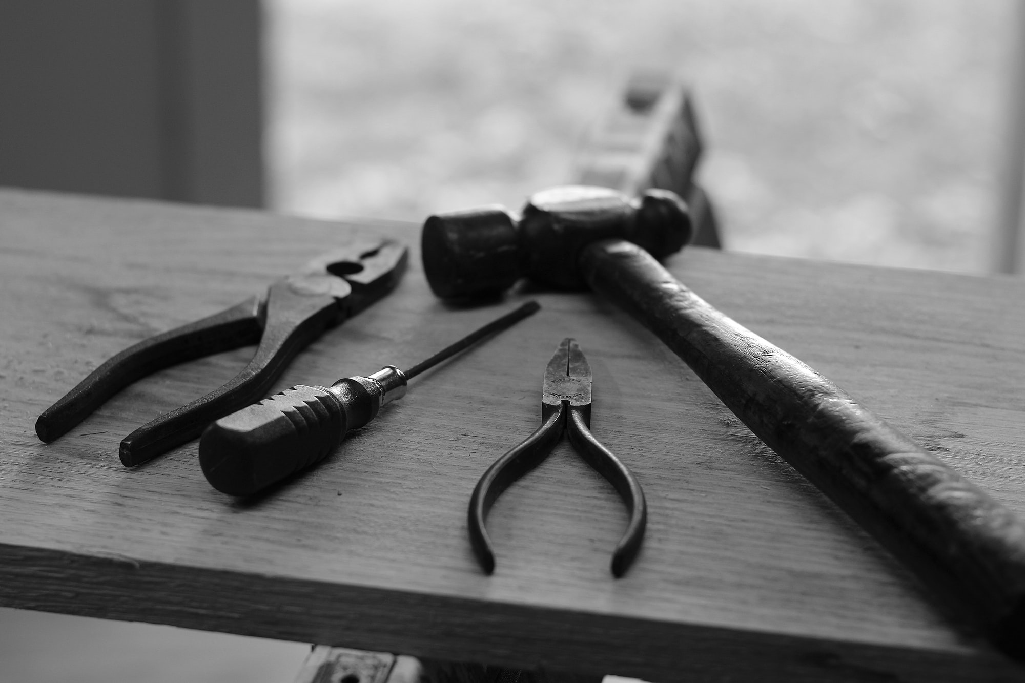 Hand Tools in Black and White