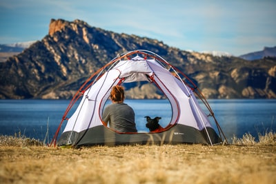 woman and a dog inside outdoor tent near body of water camping zoom background