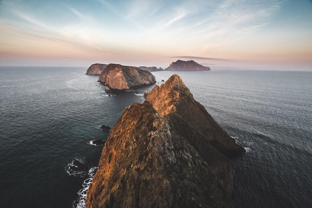 bird's eye view photography of island
